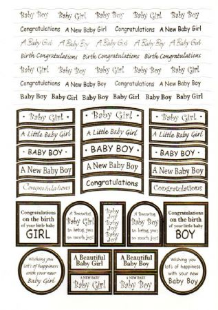 New Baby Foil Wording Die Cut Captions Sheet